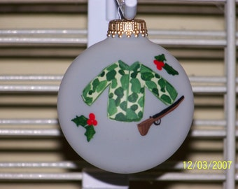 Handpainted Christmas Hunting Ornament