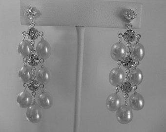 White Freshwater Pearl Chandelier Earrings