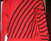Vtg 80s Red Black Striped Mudd Club New Wave Sweater oversized