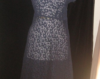 Vtg 60s Navy Blue Sheer Cotton FLORAL Lace Dress M
