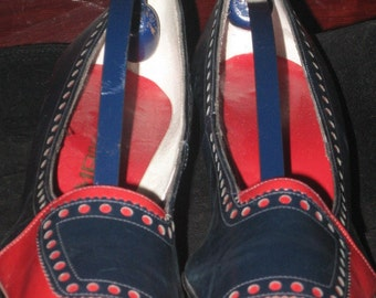 Vtg 60s TEMPO Navy Red Two-Toned  Spectator Cut-Outs Pumps Ladies Size 10 42 EU