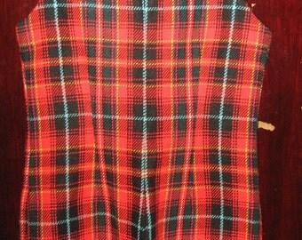 Vtg 60s Red Green white Tartan Sleeveless Wool Mini Romper s m