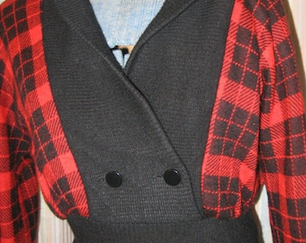 Vtg 80s Red Black Plaid Flannel New Wave Black Shawl Collar  faux wrap  High Waist Dress