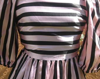 Vtg 60s Pink Black Vertical Horizontal Striped Tiny Princess High Waist Full Skirt Bateau Neck Puff Sleeve Dress XS