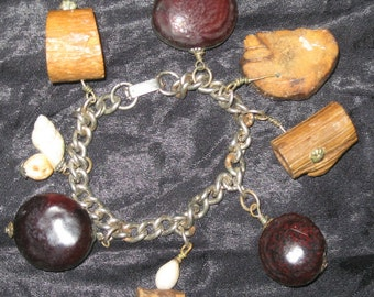 Vtg 60s EARTH Mother Wood Shell Seeds Silver Chain CHARM Bracelet