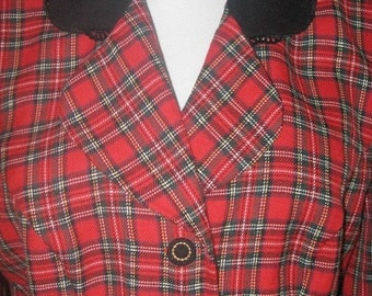 Vtg 80s Red TARTAN Plaid VELVET Lace Collar  FITTED Jacket M L