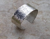 Anvils were involved Silver Cuff Bracelet Med Wide hammer textured - An Amazing Investment Piece or Gift