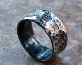 Hand Forged Hammered Fine Silve Ring Size 7 Falling Leaves Design Needs Good Home