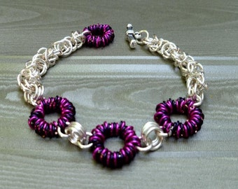 Chainmaille Bracelet- handmade chainmaille bracelet- womens bracelet- Coiled Chainmaille Bracelet, Pink and Black chainmaille bracelet