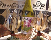 Running Through the Garden, Pair of Hand Painted Flowered Wineglasses, for Weddings,Bridal Shower, Parties, Birthday, Anniversary