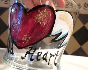 WILD HEART, Candle Votive, jar, Candy Dish, Desk Organizer, Jewlery, ring box, candle holder, gypsy, bohemian, free spirit, heart , wings