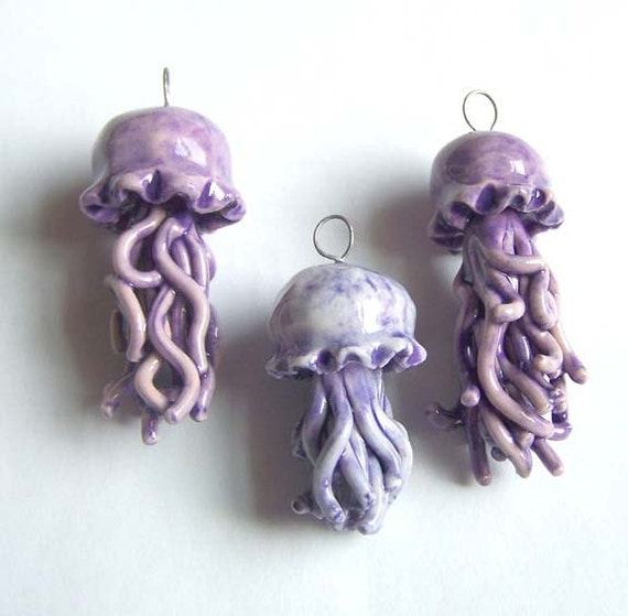 SALE - 50 percent off - Jellyfish Pendant - Red with Purple - Porcelain