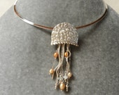 Fine Silver Jelly Fish with Freshwater Pearls and Fire Opal