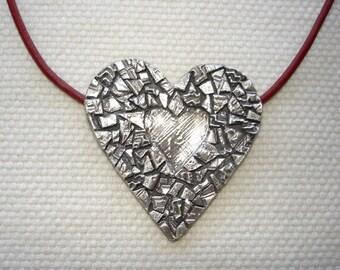 Heart in Fine Silver Mosaic