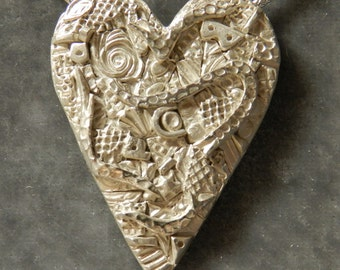 Heart in Bright Mosaic Collage Fine Silver