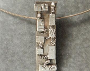 Circuit Board Pendant in Fine Silver