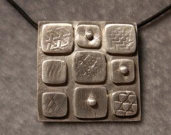 Fine Silver Smooth Square Pendant
