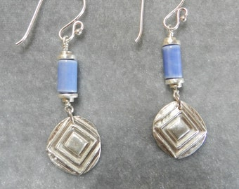 Fine Silver Earrings with Blue Glazed Tube Beads