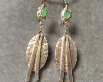 Fine Silver Earrings with Chrysoprase