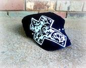 Black and White Damask Cross Cadet Hat