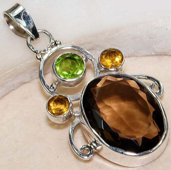Smokey Topaz 23.5 carats Peridot 2 ct Citrine 1 ct 925 Silver Necklace