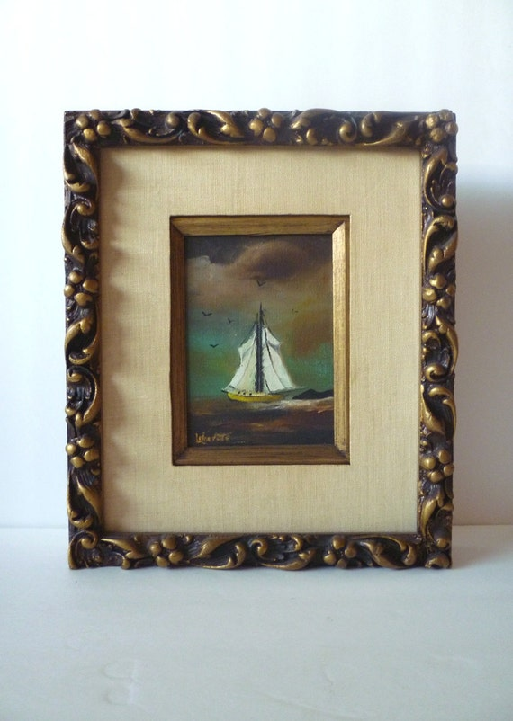 Vintage Stormy Sea Sail Boat Framed Oil Painting