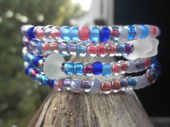 SALE Berry Patch Lake Erie Beach Glass Memory Wire Bracelet