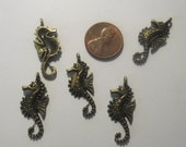 Seahorse Pendant 5 piece set Bronze/Brass/Gold Component Destash