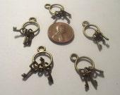 Key Pendant 5 piece set Bronze/Brass/Gold Component Destash