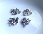 Owl pendant Components 4 piece set dark silver Component Destash