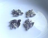 Owl pendant Components 4 piece set dark silver Component Destash