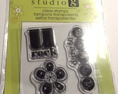 Mini U Rock Stamp Studio G clear stamp Floral Dare to dream