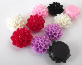 Flower Cabochon Resin various colors set of 10, 2 of each color