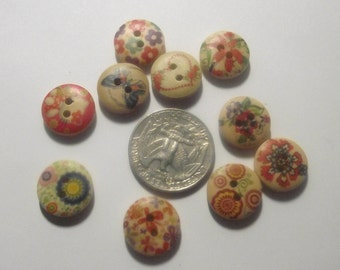 Round Floral wooden Buttons set of 10