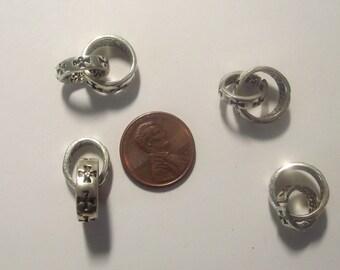 Round Linked Connectors Silver Plate 4 piece set Component Destash
