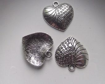 Heart Pendant Charms Silver Plate 3 piece set Component Destash