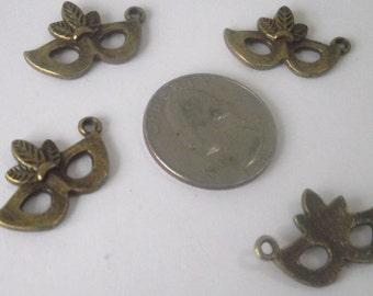 Fox Mask pendant Components 4 piece set Bronze/Brass/Gold Component Destash