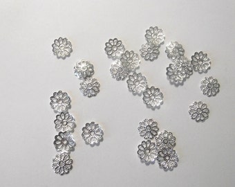 Destash Flower Bead Caps  Silver Tone set of 25