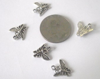 Butterfly pendant Components 5 piece set dark silver Component Destash
