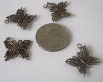 Bronze ButterflyPendant 4 piece set Bronze/Brass/Gold Component Destash