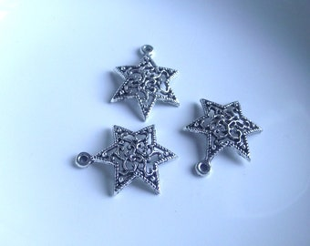 Star pendant Components 3 piece 24mm  star set dark silver Component Destash