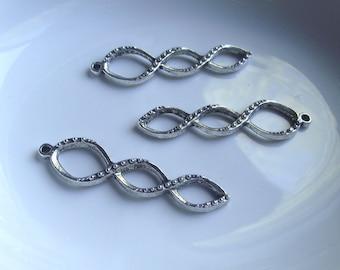 Twisted spiral pendant Components 3 piece 46mm dark silver Component Destash