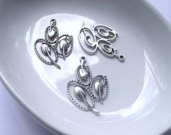 Tri-Petal Pendant Components 3 piece dark silver Component Destash