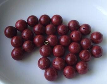 Red Bead destash lot set of Red wooden feel beads