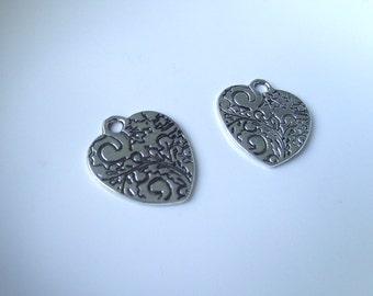 Silver tone Etched Heart Component Destash 20x19mm