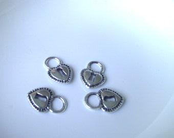 Silver tone Heart lock Component Destash 17mm