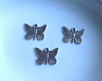 Butterfly pendant Components 3 piece 44mm key set dark silver Component Destash