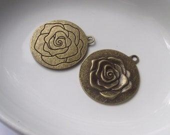 Rose pendant Components 2 piece set Bronze/Brass/Gold Component Destash