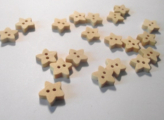 Wooden star buttons set of 10