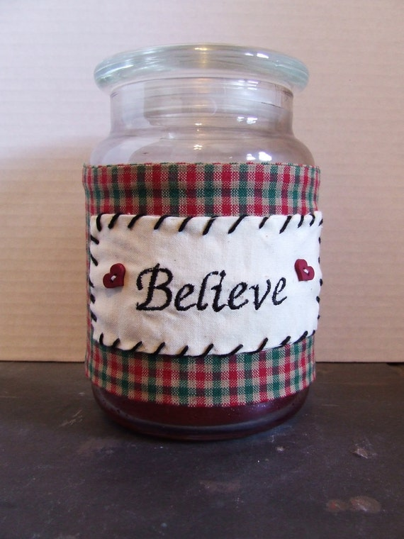 """Candle  Wrap  Country Plaid with the embroidered word """"Believe"""" Large Jar Candle"""